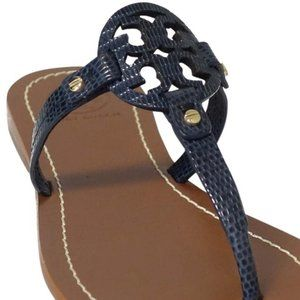 Tory Burch Gabriel Flat Thong Sandals Navy
